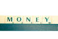 Money a board game with the business related word on white background Stock Image