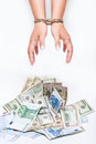 Money and bound hands Stock Photography