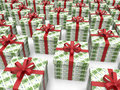 Money box gifts euros d rendered illustration of multiple boxes textured using bills the composition is isolated on a white Stock Photography