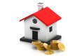 Money box house with dollar coins Stock Image