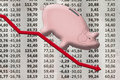 Money box pig stock exchange Royalty Free Stock Photo