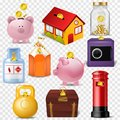Money box vector financial bank or money-box with investment savings and coins illustration set of piggybank or moneybox Royalty Free Stock Photo