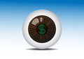 Money on Brown Eye Looking for Profit Royalty Free Stock Photo