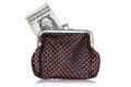 Money brown leather purse white background Stock Photos