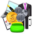 Money and business item d render illustration on white Royalty Free Stock Photo