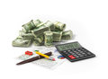 Money and calculator image of with Royalty Free Stock Photography