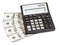 Money and calculator over white business picture Stock Photos