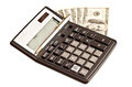 Money and calculator over white business picture Royalty Free Stock Photo