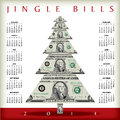 Money calendar illustration of jingle bills with dollar bills in shape of christmas tree Royalty Free Stock Images