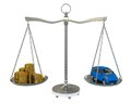 Money and the car in the gold balance scales Stock Photography