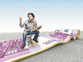 Money carpet and man d image of rolling euro with book Royalty Free Stock Photos