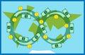 Money circulating in world Royalty Free Stock Photo
