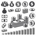 Money and coin icon set. Royalty Free Stock Photo