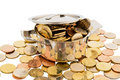 Money coins a cooking pot is filled with euro symbolic photo for funding Stock Image