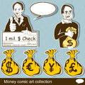 Money comic art collection over vintage background Royalty Free Stock Photos