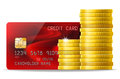 Money concept credit card and cash golden coins Royalty Free Stock Photo