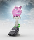 Money concept with pig money box in heaven illustration Royalty Free Stock Photo