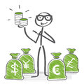 Money concept stick figures holding different currencies in hand Royalty Free Stock Photography
