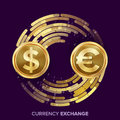 Money Currency Exchange Vector. Dollar, Euro. Golden Coins With Digital Stream. Conversion Commercial Operation For