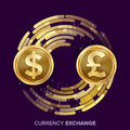 Money Currency Exchange Vector. Dollar, GBP. Golden Coins With Digital Stream. Conversion Commercial Operation For