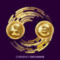 Money Currency Exchange Vector. GBP, Euro. Golden Coins With Digital Stream. Conversion Commercial Operation For Royalty Free Stock Photo