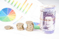 Money on desk witch chart british pound sterling bank notes with financial Royalty Free Stock Photography