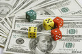 Money and dice Royalty Free Stock Photo