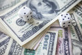 Money, dice for gambling Royalty Free Stock Photo