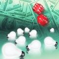 Money, dice and ideas Royalty Free Stock Photo