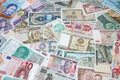 Money of the different countries. Royalty Free Stock Photography