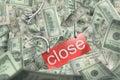 Money (dollars) fall and break fetter Stock Images