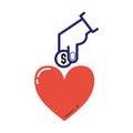 Money donation icon vector.