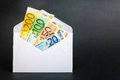 Money envelope euro banknotes in an open for your financial bonus cashback gifts and presents concepts copy space to the right Royalty Free Stock Photography