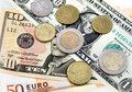 The money euro and dollars Royalty Free Stock Photos