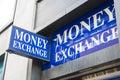 Money exchange blue shop sign Royalty Free Stock Image
