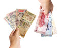 Money exchange in hand Royalty Free Stock Photo