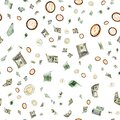 Money falling seamless pattern background. American, Euro Banknote cash. Bitcoin Cryptocurrency isolated on white Royalty Free Stock Photo