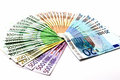 Money fan from various Euro bills 500 200 100 50 20 Royalty Free Stock Photo