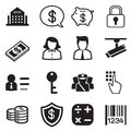 Money, finance, banking silhouette icons vector set Royalty Free Stock Photo