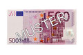 Money - Five hundred (500) Euro bill front with German lettering Muster (specimen) Royalty Free Stock Photo
