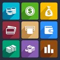 Money flat icon set and coin for web and mobile applications Stock Image