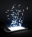 Money flying out of a touchscreen phone Royalty Free Stock Photo