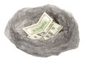 Money in a garbage bag on white Stock Image