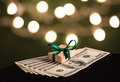 Money gift box and us dollar bills Stock Photography