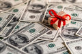 Money gift box and us dollar bills Royalty Free Stock Photography
