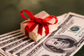 Money gift box and us dollar bills Royalty Free Stock Image