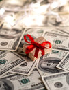 Money gift box and us dollar bills Royalty Free Stock Images