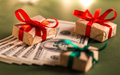 Money gift boxes and us dollar bills Stock Images