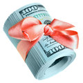 Money gift roll of new hundred dollar bills for Stock Images