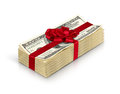 Money gift, stack of cash with red bow isolated on white backgro Royalty Free Stock Photo